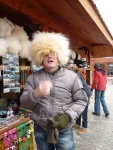 Lasha our guide hamming it up with traditional mountain wool hat.